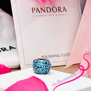 NWT PANDORA Teal Shimmering Droplets Charm RETIRED